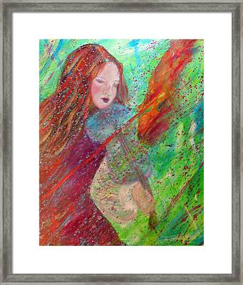 Aiden The Girl On Fire Framed Print by The Art With A Heart By Charlotte Phillips