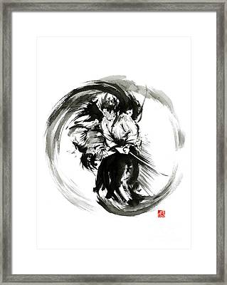 Aikido Techniques Martial Arts Sumi-e Black White Round Circle Design Yin Yang Ink Painting Watercol Framed Print by Mariusz Szmerdt