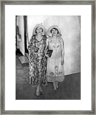 Aimee  Mcpherson And Daughter Framed Print by Underwood Archives