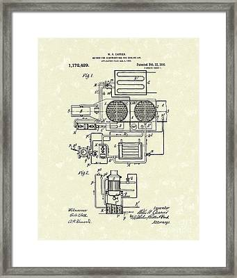 Air Conditioner 1916 Patent Art Framed Print by Prior Art Design