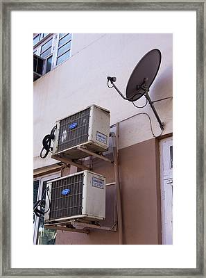 Air-conditioners And Satellite Dish Framed Print by Mark Williamson