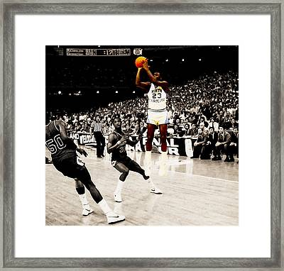 Air Jordan Unc Last Shot Framed Print by Brian Reaves