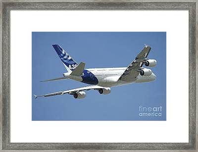 Airbus A380 Prototype In Flight Framed Print by Riccardo Niccoli