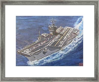 Aircraft Carrier Cvn-70 Carl Vinson Framed Print by Jose Bernal