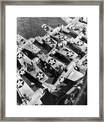 Aircraft Carrier Planes Reload Framed Print by Underwood Archives