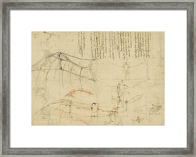 Aircraft Machine Has Been Reduced To Simplest Shape Wings Directly Put On Human Body By Straps  Framed Print by Leonardo Da Vinci