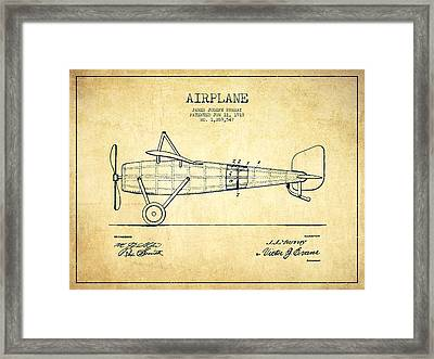 Airplane Patent Drawing From 1918 - Vintage Framed Print by Aged Pixel