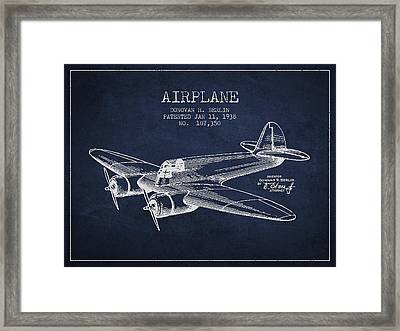 Airplane Patent Drawing From 1938 Framed Print by Aged Pixel