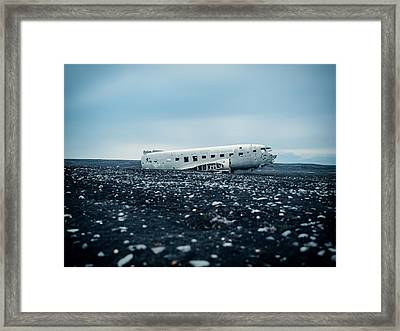 Airplane Relic In Iceland Framed Print by Mountain Dreams