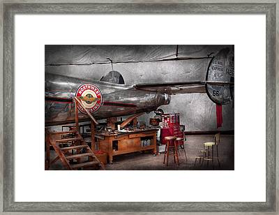 Airplane - The Repair Hanger  Framed Print by Mike Savad