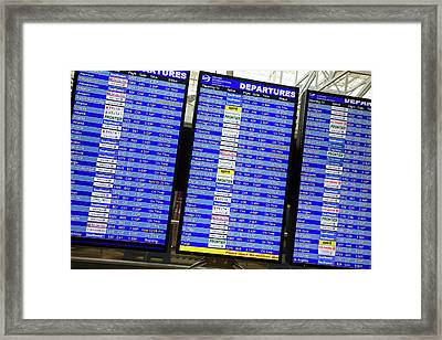 Airport Departures Board Framed Print by Jim West