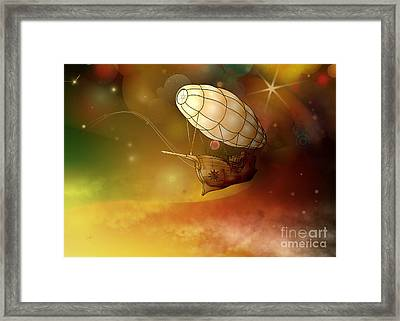 Airship Ethereal Journey Framed Print by Bedros Awak