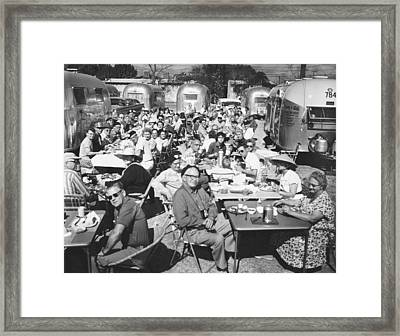 Eat Free Framed Print featuring the photograph Airstream Trailer Gathering by Underwood Archives