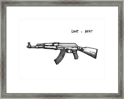 Ak - 47 Gun Drawin Art Poster Framed Print by Kim Wang