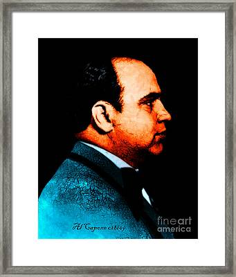 Al Capone C28169 - Black - Painterly - Text Framed Print by Wingsdomain Art and Photography