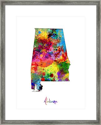 Alabama Map Framed Print by Michael Tompsett