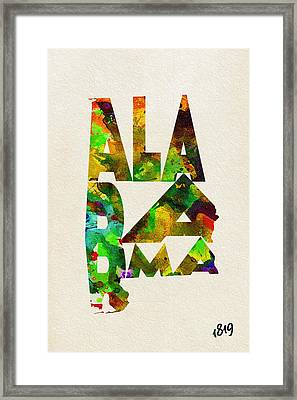 Alabama Typographic Watercolor Map Framed Print by Ayse Deniz
