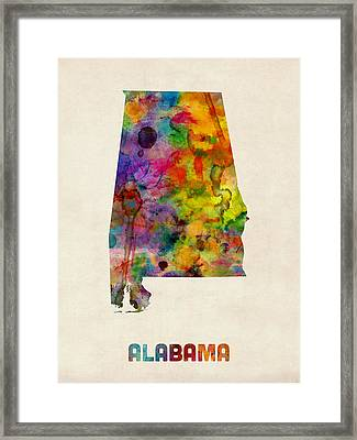 Alabama Watercolor Map Framed Print by Michael Tompsett