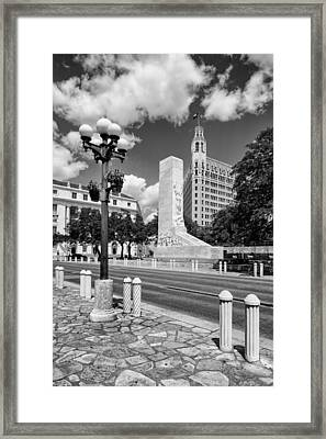 Alamo Memorial And Emily Morgan Hotel - San Antonio Texas Framed Print by Silvio Ligutti