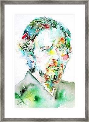 Alan Watts Watercolor Portrait Framed Print by Fabrizio Cassetta