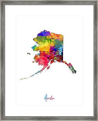 Alaska Map Framed Print by Michael Tompsett