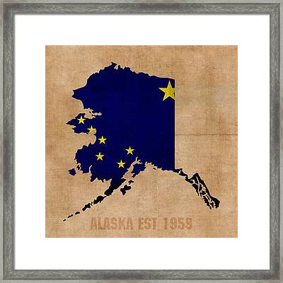 Alaska State Flag Map Outline With Founding Date On Worn Parchment Background Framed Print by Design Turnpike