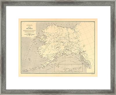 Alaska Vintage Antique Map Framed Print by World Art Prints And Designs