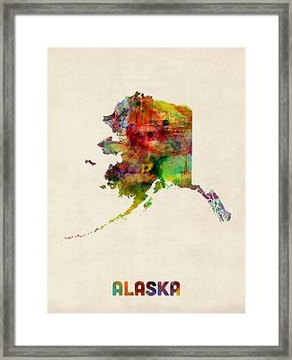 Alaska Watercolor Map Framed Print by Michael Tompsett