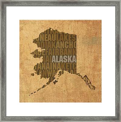 Alaska Word Art State Map On Canvas Framed Print by Design Turnpike