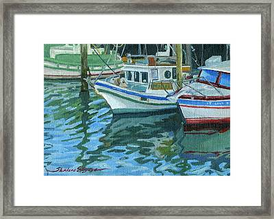 Alaskan Boats In Rippling Water Framed Print by Shalece Elynne