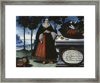 Alban, Vicente 18th C.. Indian Woman Framed Print by Everett