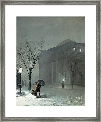 Albany In The Snow Framed Print by Walter Launt Palmer