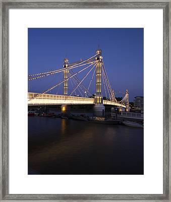 Albert Bridge London Thames At Night  Framed Print by David French
