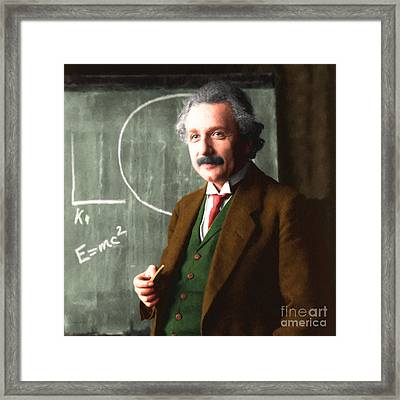 Albert Einstein 20140910 Square Framed Print by Wingsdomain Art and Photography