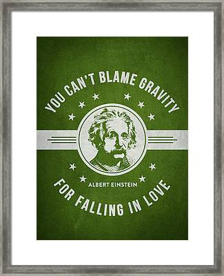 Albert Einstein - Green Framed Print by Aged Pixel