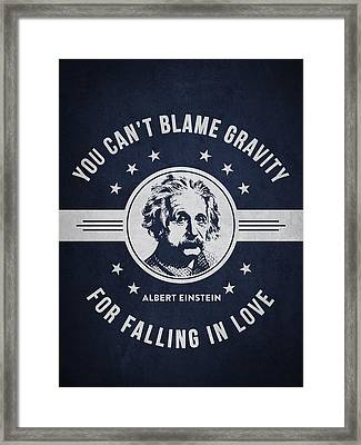 Albert Einstein - Navy Blue Framed Print by Aged Pixel