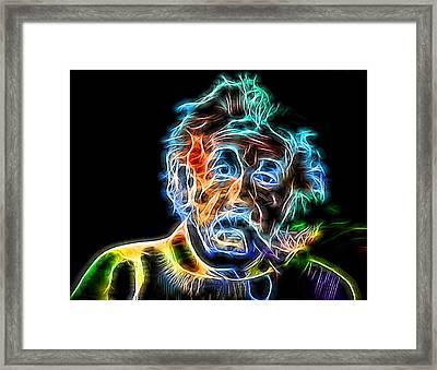 Albert Einstein Neon Framed Print by Dan Sproul