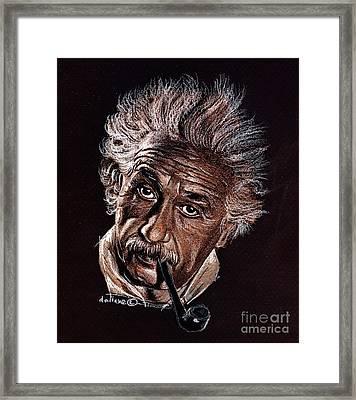 Albert Einstein Portrait Framed Print by Daliana Pacuraru