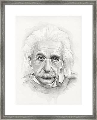 Albert Einstein Portrait Framed Print by Olga Shvartsur