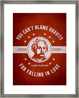Albert Einstein - Red Framed Print by Aged Pixel