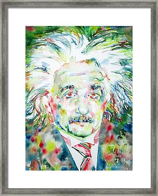 Albert Einstein Watercolor Portrait.1 Framed Print by Fabrizio Cassetta