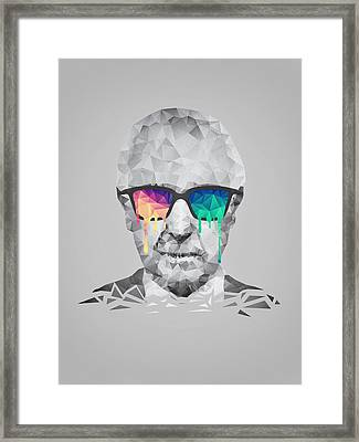 Albert Hofmann - Psychedelic Polygon Crystalised Portrait Framed Print by Philipp Rietz