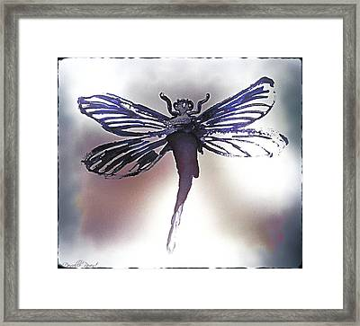 Alcohol Inks Purple Dragonfly Framed Print by Danielle  Parent