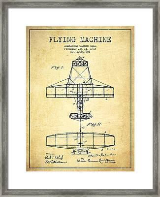 Alexander Graham Bell Flying Machine Patent From 1913 - Vintage Framed Print by Aged Pixel