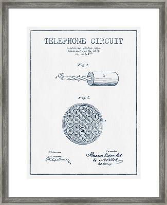 Alexander Graham Bell Telephone Circuit Patent From 1876 - Blue  Framed Print by Aged Pixel