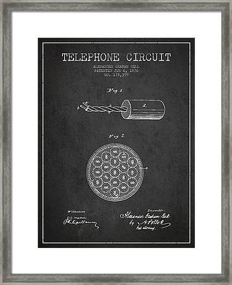 Alexander Graham Bell Telephone Circuit Patent From 1876 - Dark Framed Print by Aged Pixel