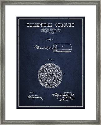 Alexander Graham Bell Telephone Circuit Patent From 1876 - Navy  Framed Print by Aged Pixel