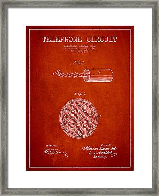 Alexander Graham Bell Telephone Circuit Patent From 1876 - Red Framed Print by Aged Pixel