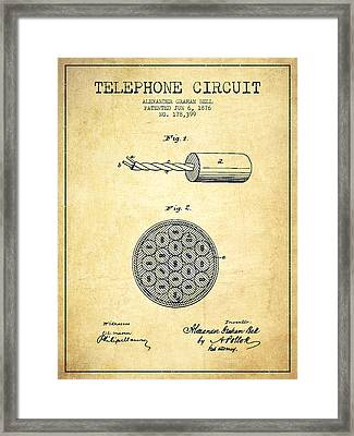 Alexander Graham Bell Telephone Circuit Patent From 1876 - Vinta Framed Print by Aged Pixel