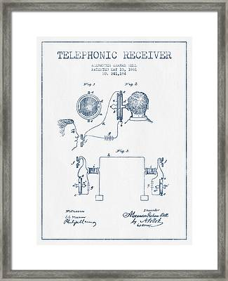 Alexander Graham Bell Telephonic Receiver Patent From 1881  - Bl Framed Print by Aged Pixel